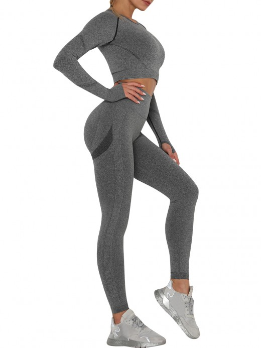 Stretch Dark Gray Sweat Suit Raglan Sleeve High Rise For Female