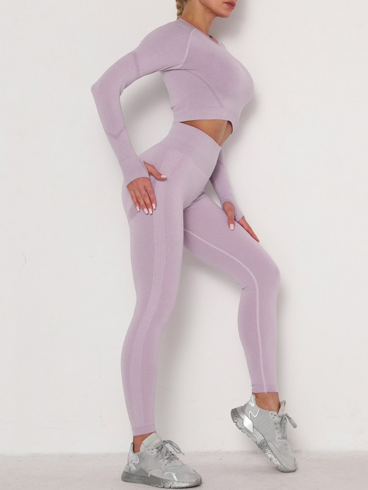 Exquisitely Light Purple Athletic Suit Crew Neck Ankle Length Fashion Style