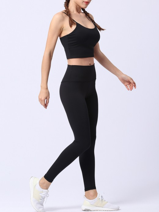 Trendy Black Yoga Suit Solid Color High Waist Moisture Wicking