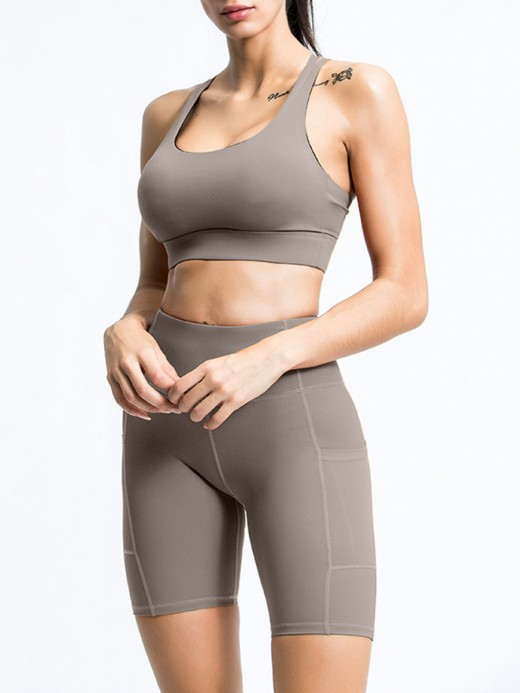 Gray Strap Bra Wide Waistband Short Leggings With Stylish Design