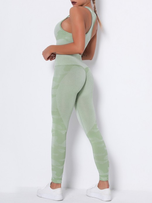 Classic Green Running Suit Seamless Wide Waistband Fabulous Fit