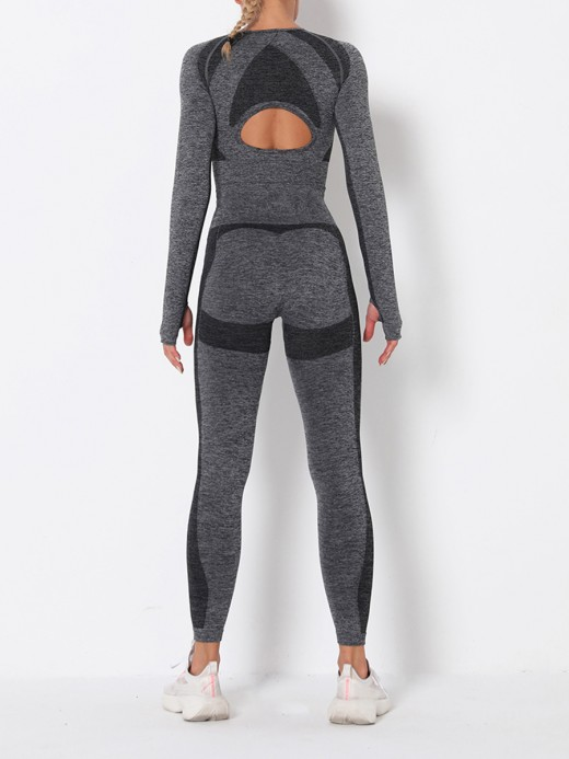 Brilliant Dark Gray Long Sleeve High Rise Sweat Suit For Workout