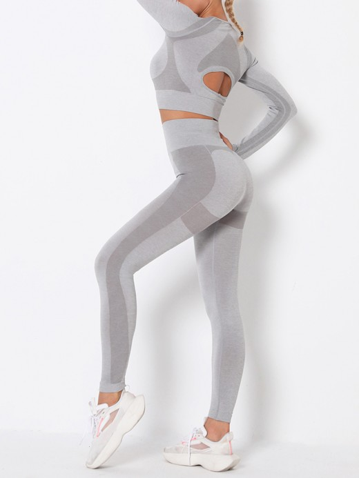 High Elasticity Light Gray Round Collar High Rise Athletic Suit