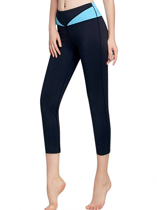 Tight Blue Capri Length Yoga Leggings Patchwork Elasticity