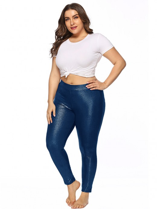 Essential Blue Glitter Big Size Leggings Ankle Length Leisure Time