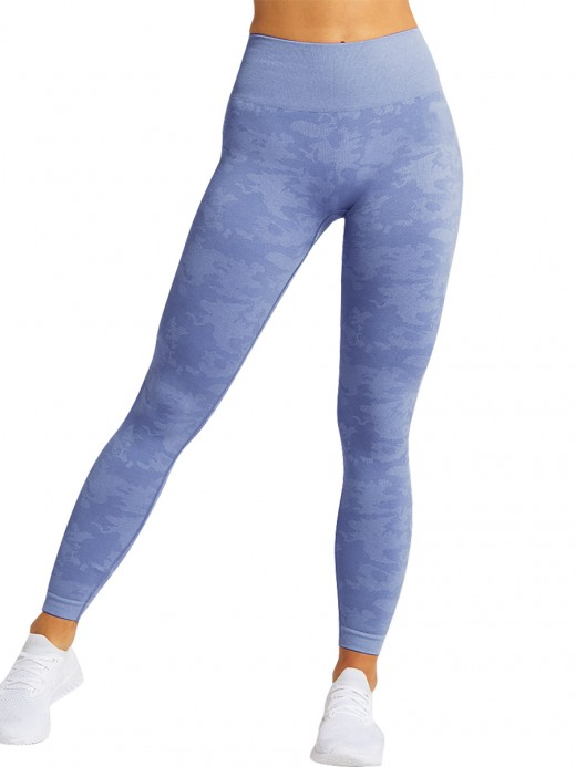 Enthusiastic Royal Blue Seamless Yoga Leggings Ankle Length Fashion Style