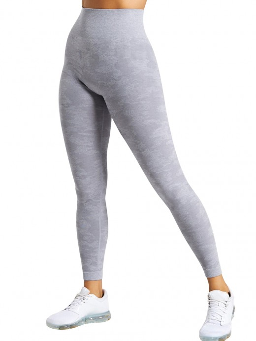 Tight Light Gray High Rise Athletic Leggings Full Length For Fitness