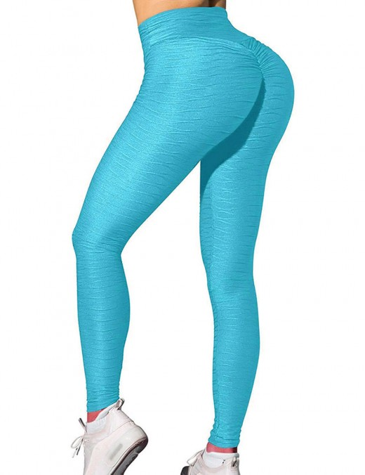 Designed Lake Blue Jacquard Solid Color High Rise Yoga Leggings