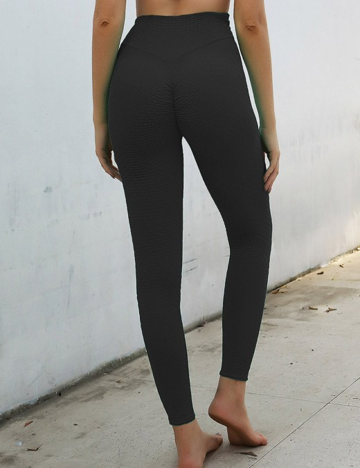 Modest Black High Waist Jacquard Yoga Leggings Seamless Cool Fashion