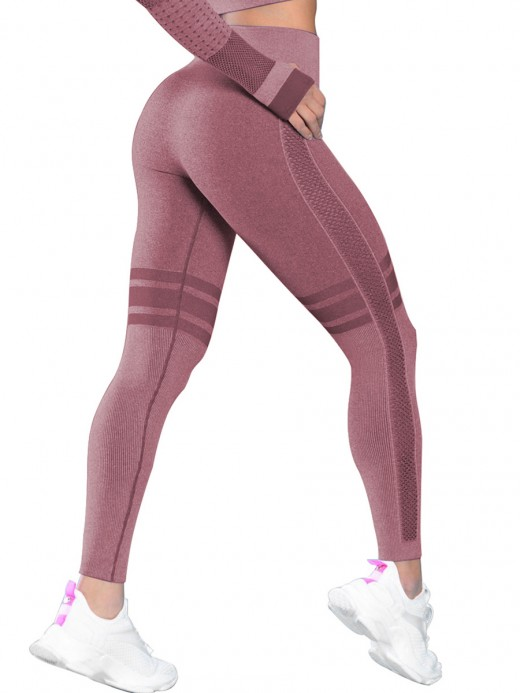 Comfy Wine Red Seamless Yoga Leggings Ankle Length For Woman