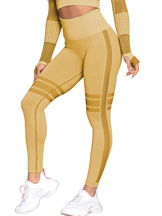 Premium Quality Earthy Yellow Mesh High Waist Seamless Sports Leggings Refined Outfit