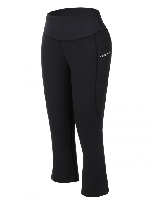 Powerful Black High Rise Keen-Length Yoga Pants Kinetic Fashion