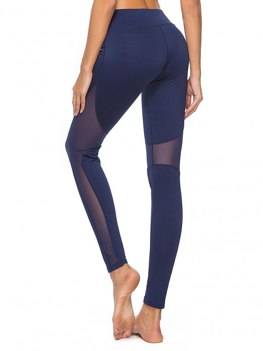 Sophisticated Dark Blue Wide Waistband Athletic Leggings Mesh Soft-Touch