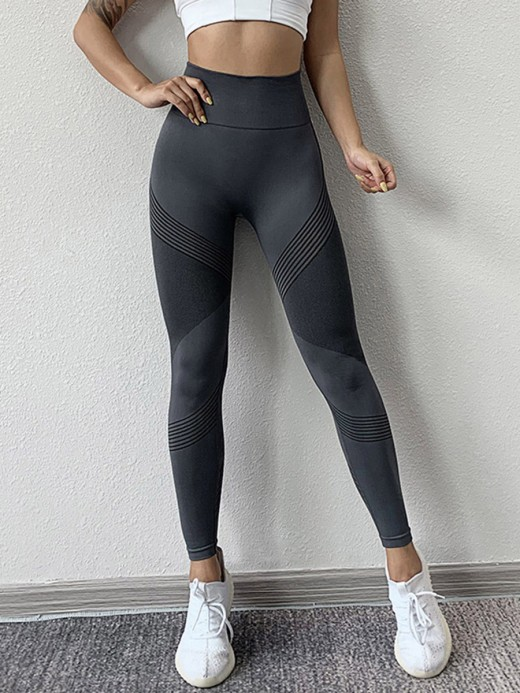 Flexible Dark Gray Stripe Ankle Length Athletic Leggings Fashion