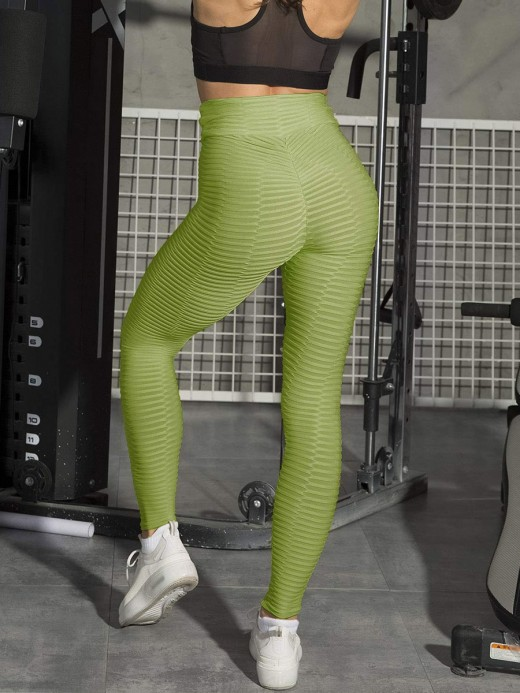 Ladies Dark Green High Waist Jacquard Sport Leggings Comfort