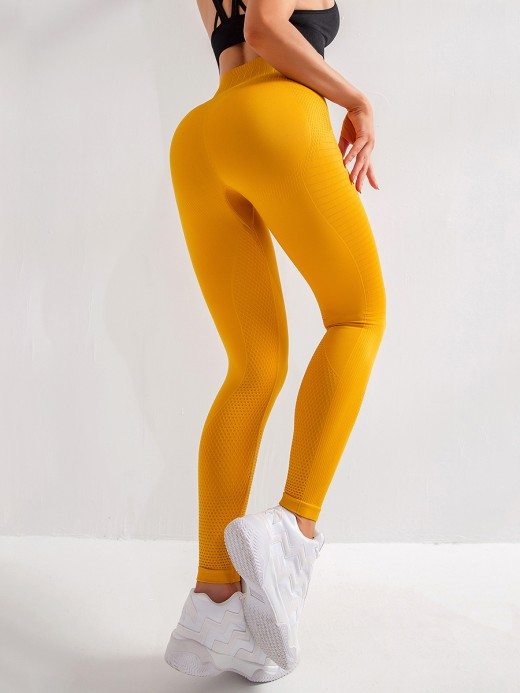 Fiercely Yellow Seamless High Waist Yoga Leggings Slim Fit