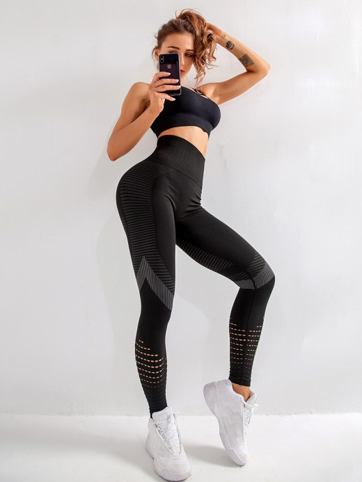 Ruching Black Mesh Patchwork Yoga Leggings High Waist Slim Fit