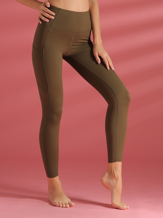 Fantastic Army Green Sports Leggings Full Length Solid Color Mid Support