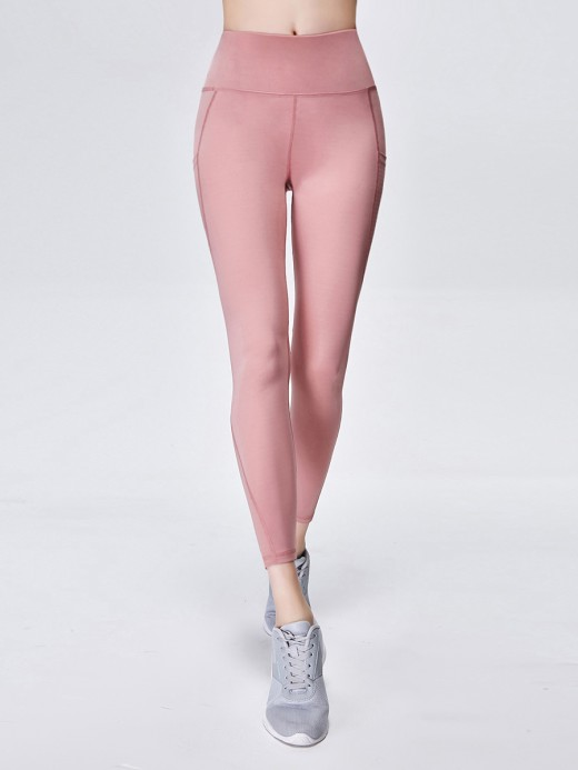 Feisty Light Pink High Rise Wide Waistband Yoga Leggings Sexy Ladies