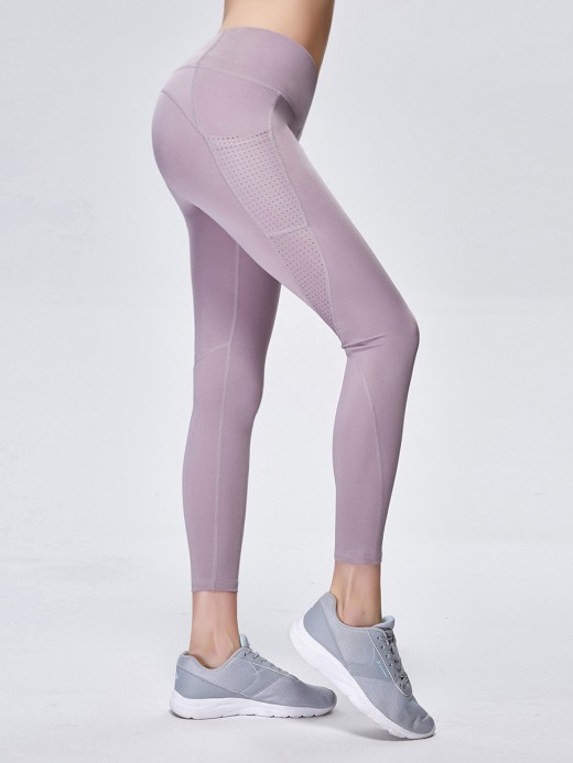 Deluxe Light Purple Side Pockets High Rise Sports Leggings For Vacation
