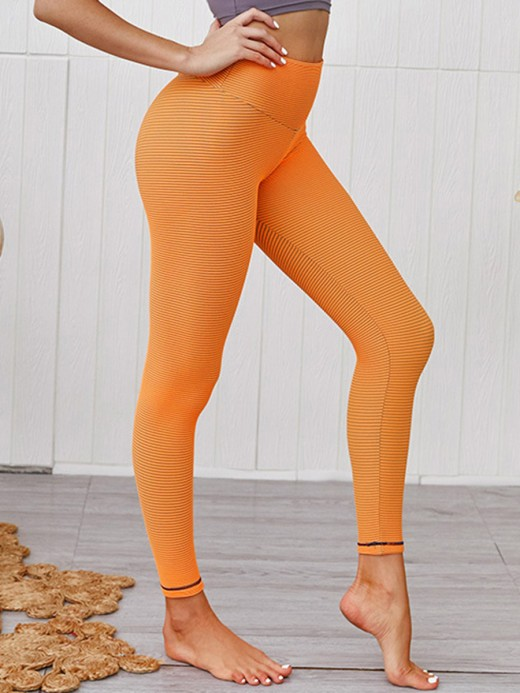 Multi-Function Orange Ankle Length Yoga Pants Tummy Control Fitness