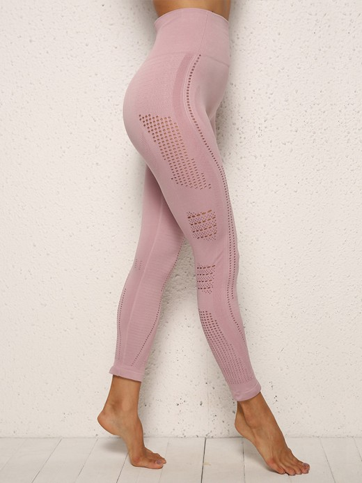 Distinctive Light Pink Mesh Patchwork High Rise Yoga Pants Trendy Style