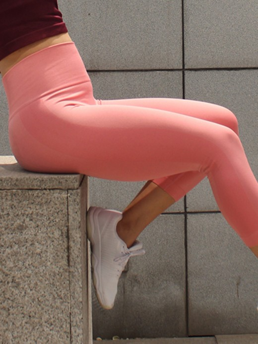 High Elasticity Pink Seamless Sports Legging Butt Enhancing Refined Outfit