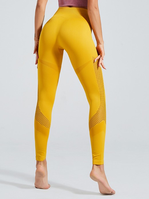 Smoothing Yellow High Waist Seamless Yoga Leggings Slim