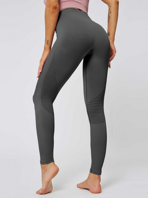 Fantastic Gray High Waist Ankle Length Yoga Leggings Outdoor Activity