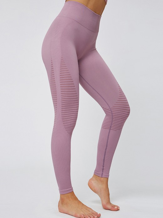Slinky Pink Yoga Leggings Ankle Length High Rise Natural Outfit