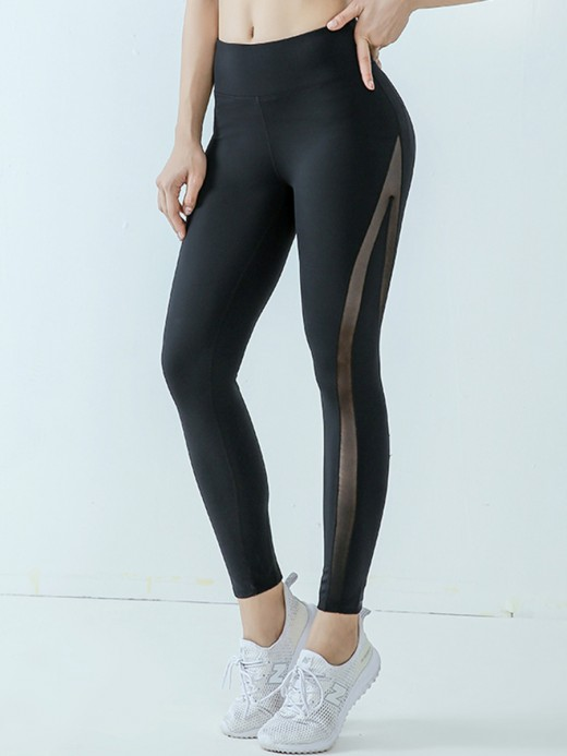 Flawlessly Black Yoga Leggings Mesh Splicing High Rise For Lounging