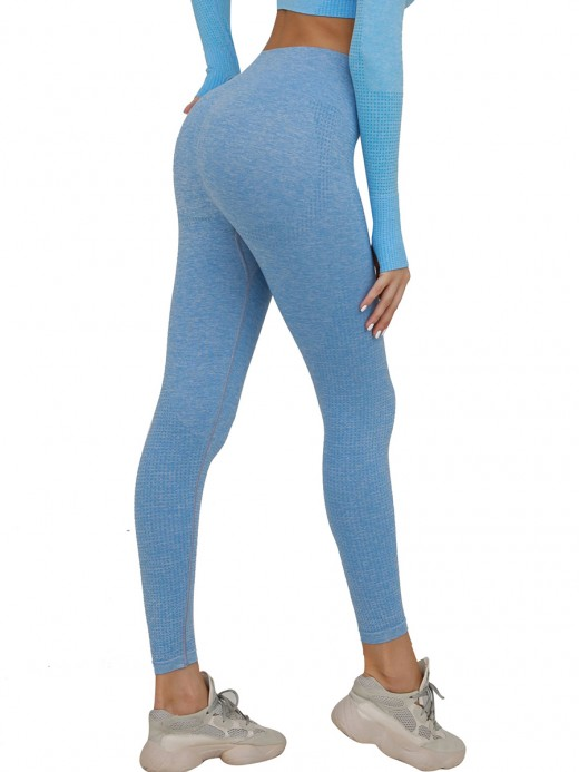 Absorbing Light Blue Seamless Yoga Leggings Solid Color Nice Quality