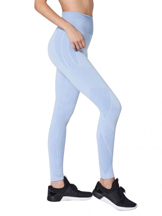 Compression Blue Wide Waistband Yoga Legging Seamless Ladies