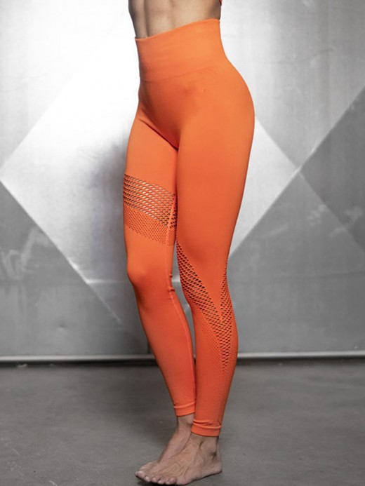 Unforgettable Orange Hollow Out Seamless Workout Leggings