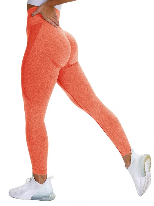Plain Orange Athletic Legging High Rise Lift Butt Women Fashion