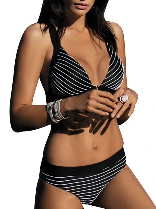 Cheeky Black Stripe Print Bra High Cut Bottom Swimming Time