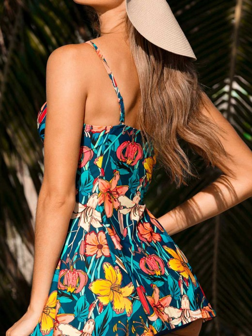 Sophisticated Flower Paint 2 Pieces Swimsuit Sling Girls Fashion