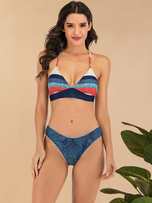 Flawlessly Bikini Stripe Printed Halter Neck For Lover