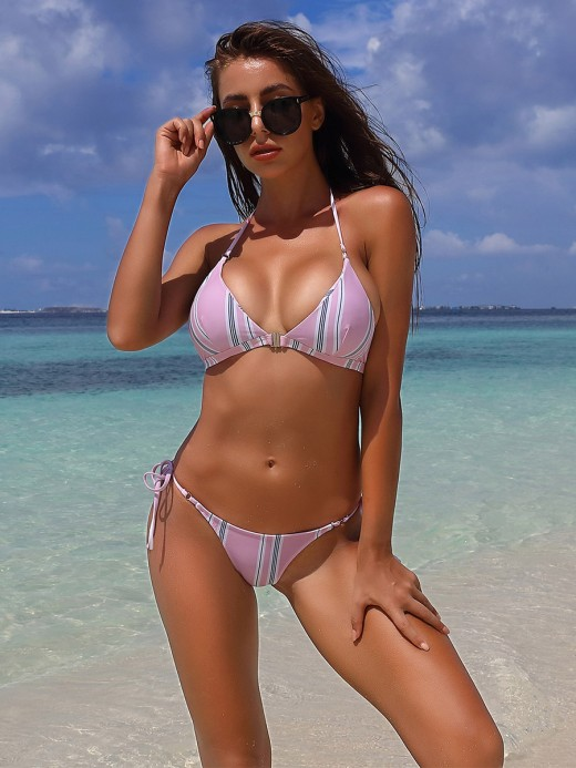 Wonderful Pink Strip Printed Bikini Halter Lace-Up Ladies Elegance