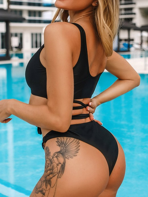 Extreme Black Bikini Tie Circular Ring High Leg Womens Latest Swimwear