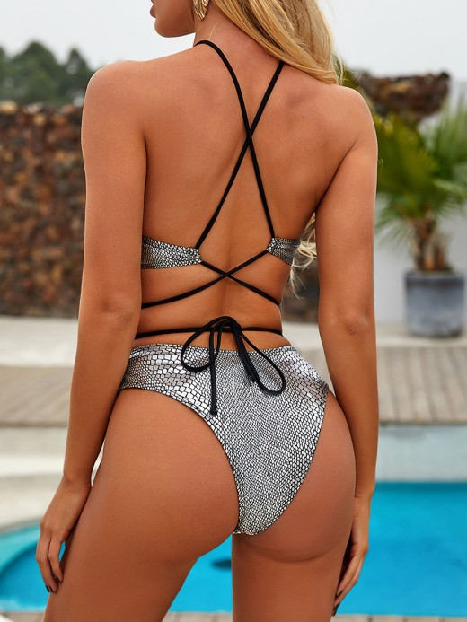 Picturesque Silver Tie Bikini Open Back Halter Collar Beach Party