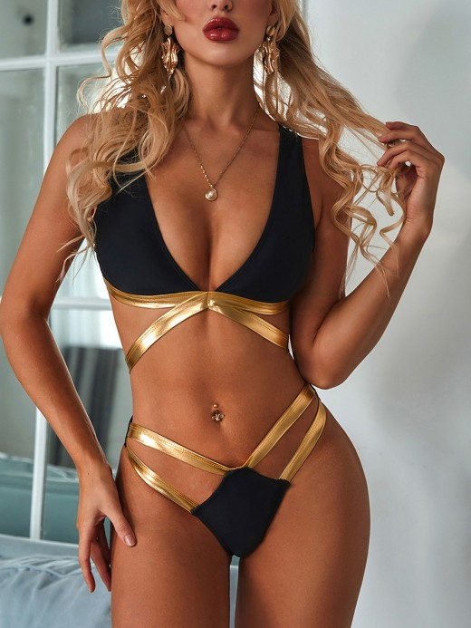 Alluring Black Deep-V Neck Bikini High Cut Backless High Elasticity