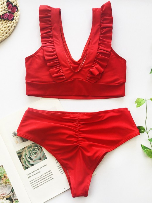 Natural Red High Waist Bikini Ruffle Trim Bowknot Comfort Fabric