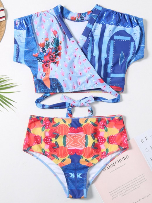 Cutie Cap Sleeve High Waist 2 Pcs Beachwear Charming Fashion