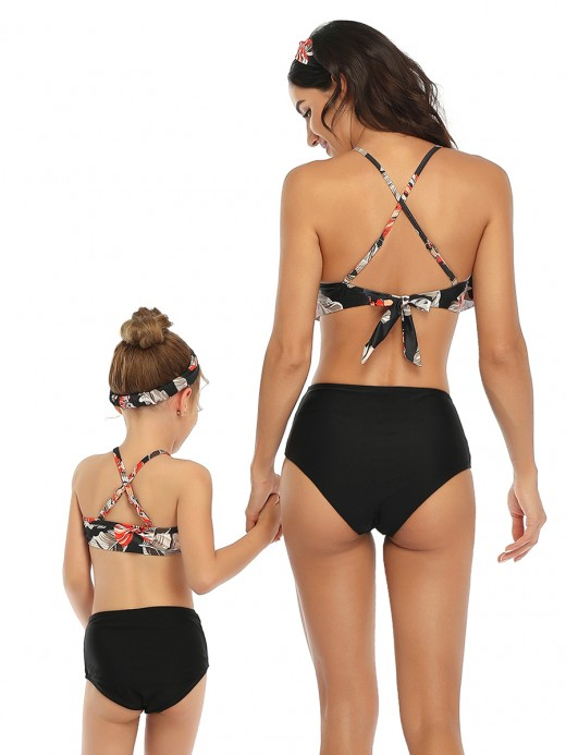 Energetic Black Adjustable Straps Backless Mom Kid Swimwear Female