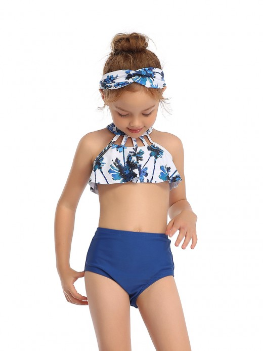 Extra Sexy Blue High Rise Flower Print Mom Kid Swimsuit Elasticity