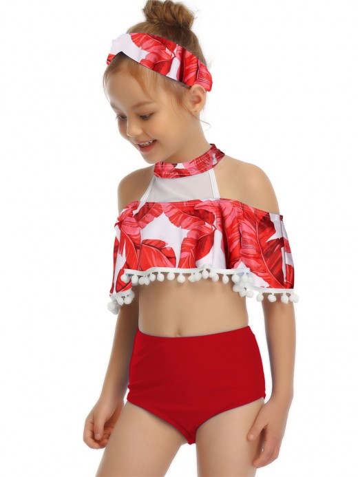 Tailored Red Mesh Mother Kid Beachwear One Shoulder Women Outfits