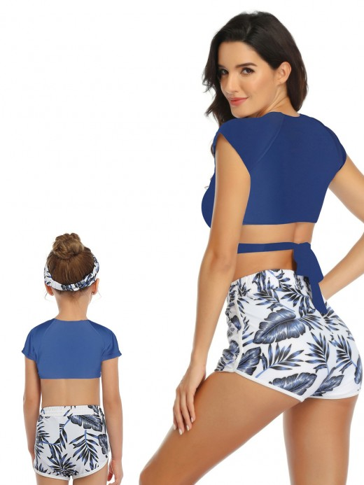 Explorer Blue Lace-Up Cross Mother Daughter Swimwear New Fashion