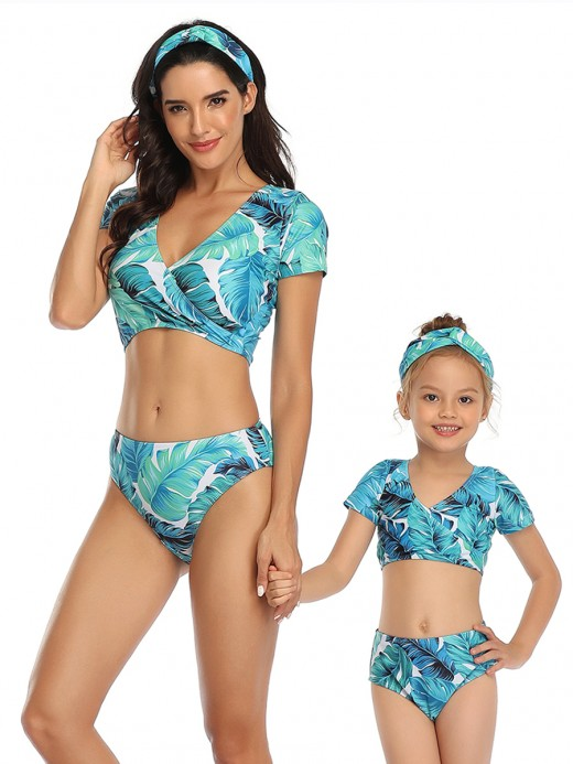 Seaside Blue Mom Kid V Neck Short Sleeves Bikini Set Wholesale
