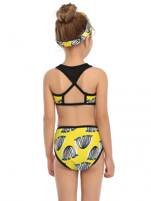 Matching Yellow Mesh Patchwork Mommy Daughter Swimwear Form Fit